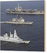 U.s. And French Navy Ships Transit Wood Print