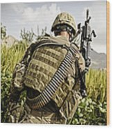 U.s. Army Mk48 Machine Gunner Patrols Wood Print