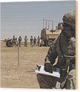 U.s. Army Radio Operator Communicates Wood Print