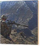 U.s. Army Sniper Provides Security Wood Print