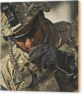 U.s. Army Soldier Communicates Wood Print
