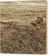 U.s. Army Soldier Fights Racing Water Wood Print