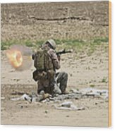 U.s. Army Soldier Fires Wood Print