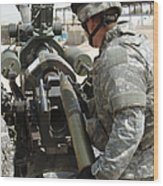 U.s. Army Soldier Loads A 105mm Wood Print