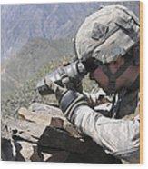 U.s. Army Soldier Monitors An Afghan Wood Print