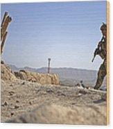 U.s. Army Soldier On A Foot Patrol Wood Print