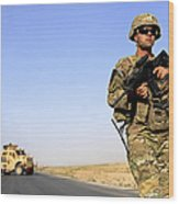 U.s. Army Soldier On Patrol Wood Print