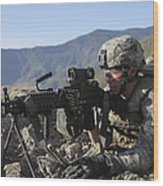 U.s. Army Soldier Provides Overwatch Wood Print