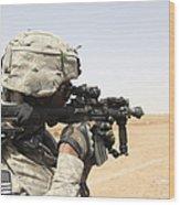 U.s. Army Soldier Scans The Horizon Wood Print by Stocktrek Images