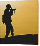 U.s. Army Soldier Secures An Area Wood Print
