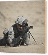 U.s. Army Soldier Sights In A Barrett Wood Print