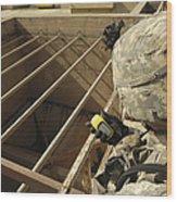 U.s. Army Soldier Takes A Gps Grid Wood Print by Stocktrek Images