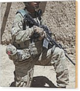 U.s. Army Soldier Takes A Knee While Wood Print