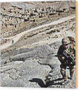 U.s. Army Soldiers And Afghan Border Wood Print