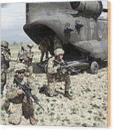 U.s. Army Soldiers Board A Ch-47 Wood Print