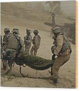 U.s. Army Soldiers Medically Evacuate Wood Print