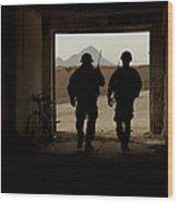 U.s. Army Soldiers Patrol A Village Wood Print