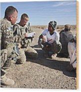 U.s. Army Soldiers Speak With Elders Wood Print