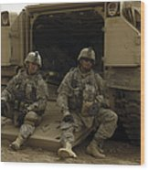 U.s. Army Soldiers Waiting At Patrol Wood Print