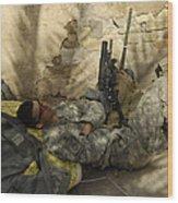 U.s. Army Specialist Takes A Nap Wood Print