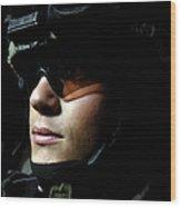 U.s. Army Specialist Waits To Dismount Wood Print