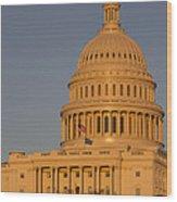 Us Capital Dome Sunset Glow Wood Print