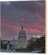 Us Capitol - Pink Sky Getting Ready Wood Print