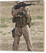 U.s. Contractor Firing A M4 Carbine Wood Print