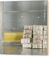 Us Dollar Bills In A Bank Cart Wood Print
