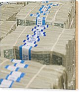 Us Dollar Bills In Bundles Wood Print by Adam Crowley