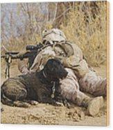 U.s. Marine And A Military Working Dog Wood Print