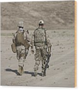 U.s. Marine And German Soldier Walk Wood Print