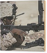 U.s. Marine Clears The Feed Tray Wood Print