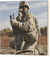 U.s. Marine Communicates Wood Print