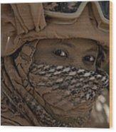 U.s. Marine Covered In Dirt Wood Print