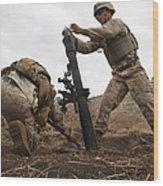 U.s. Marine Drops A Mortar Round Wood Print