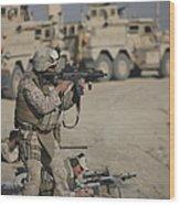 U.s. Marine Fires A G36k Carbine Wood Print