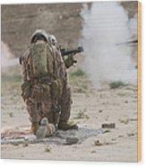 U.s. Marine Fires A Rocket-propelled Wood Print