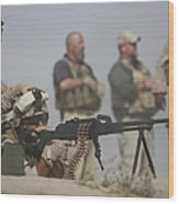 U.s. Marine Firing A Pk 7.62mm Machine Wood Print
