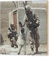 U.s. Marine Gives An Afghan Child Wood Print