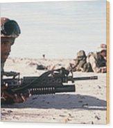 U.s. Marine Guards The Camp Perimeter Wood Print
