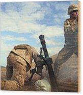 U.s. Marine Holds A Mortar Tube Steady Wood Print