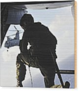 U.s. Marine Looks Out The Back Wood Print