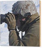 U.s. Marine Looks Wood Print