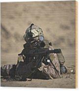 U.s. Marine Sights In A Barrett M82a1 Wood Print
