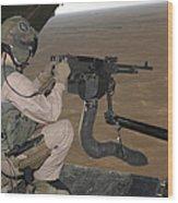 U.s. Marine Test Firing An M240 Heavy Wood Print