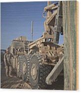 U.s. Marine Uses A Logistics Vehicle Wood Print