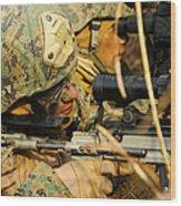 U.s. Marine Uses A Spotting Scope Wood Print