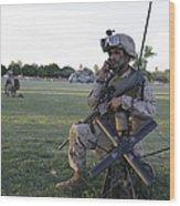 U.s. Marine Utilizes A Satellite Radio Wood Print