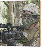 U.s. Marine Videotapes Combat Exercises Wood Print